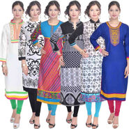 Combo of 6 Cotton Printed Kurti -DLI6KCO602
