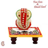 Marble Ganesh decorated with Stone Beads sitting on Marble Chowki