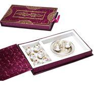 Silver Plated Thali with Kajoo Laddoo Gift Box_DMB1448