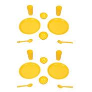 Kitchen Duniya Round Dinner Set 16 Pcs-Golden Yellow