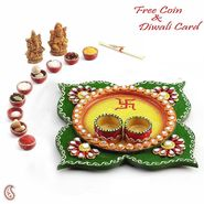 Aapno Rajasthan Orange & Red Paisley Design Diwali Pooja Thali