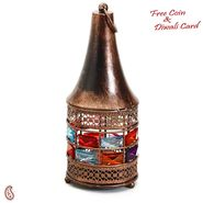 Aapno Rajasthan Copper Finish Conical Gun Metal Tea Light Holder