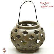 Taupe Ceramic Tea light Lantern Shade with Floral Cut