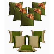 Dekor World Green Floral Combo. Cushion Cover(Pack of 10 Pcs)-DWCB-154