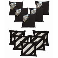 Dekor World Black Floral Combo. Cushion Cover(Pack of 10 Pcs)-DWCB-156