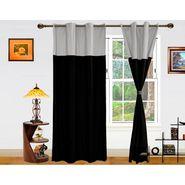 Dekor World Silver Black Eyelet Window Curtain-Set of 2 -DWCT-411-5