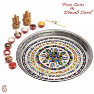 Metal Pooja Thali with Colorful Design