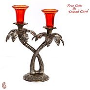 Aapno Rajasthan Palm Tree Design Oxidized Metal Finish Dual Candle Holder with Red Glass