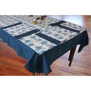 Dekor World Blue Floral Printed Table Cover With Place Mat Pack of 5 Pcs
