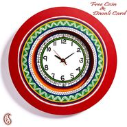 Red Round Wall Time Piece with Contemporary Design
