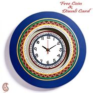 Blue Round Wall Clock with Contemporary print