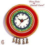 Aapno Rajasthan Red Tribal Print Wall Clock with Artificial Bell Motif