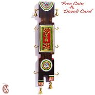 Antique Finish Wooden Key Holder with Dhokra Art