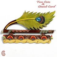 Aapno Rajasthan Bansuri and Peacock Feather Wood and Clay Key Holder