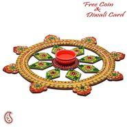 Aapno Rajasthan Handmade Traditional Wood and Clay work Round Diya Thali
