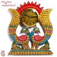 Aapno Rajasthan Twin Peacock Wall Clock in Rajasthani clay and wood craft