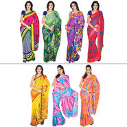 Damini Set of 7 Georgette Sarees (7G4) - AKSO