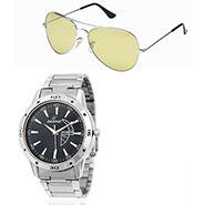 Combo of Dezine Wrist Watch + Aviator Sunglass_CMB94-BLK-YEL