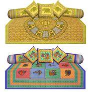 Set of 2 Jaipuri Print 100% Cotton Elephant and Dandiya Print Diwan Sets-Diwan1-2