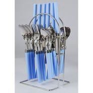 Elegante Opera Blue Look Cutlery Set - 24 Pcs With Stand EOBLUCS024