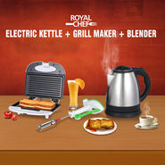 Electric Kettle + Grill Maker + Blender