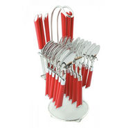 Elegante Expression 24Pcs Cutlery Set with Stand - Red