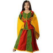 Little India Ethnic Designer Girls Lehanga Choli - Red Green - DLI3GED105C