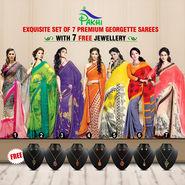 Exquisite Set of 7 Premium Georgette Sarees (7G16) with Free 7 Jewellery