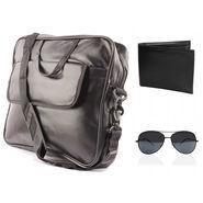 Fidato Laptop Bag + Fidato Black Aviator + Fidato Black Leather Wallet