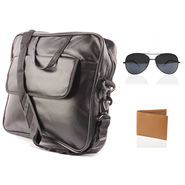 Fidato Laptop Bag + Fidato Black Aviator + Fidato Tan Leatherite Wallet