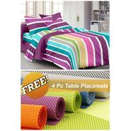 Storyathome Purple Striped 1 Double Bedsheet With 2 Pillow Cover -FE1114_TT