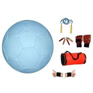 White (1661) Genius Football Size 5 with Skipping Rope, Gripper, Wrist Band, Gloves, Duffel Bag