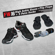 FW16 Sports Shoes + Acupressure Flip Flops + 3 Pairs Socks (SSFF1A)