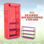 Royal Home Big Almirah with Multi-purpose 4 Tier Rack