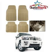 AutoStark - Premium Quality Beige Rubber Car Foot Mat For - Mahindra Scorpio