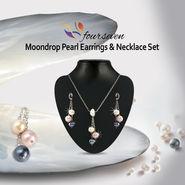 Moondrop Pearl Earrings & Necklace Set
