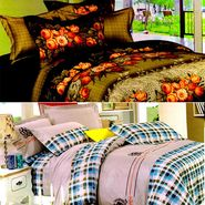 Valtellina Multicolor Design Print 2 Double bedsheet & 4 Pillow covers-GLO-05-06