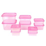 Gluman 10 Pcs Set of Plastic Kitchen Storage Container Box - Sigma Pink C2