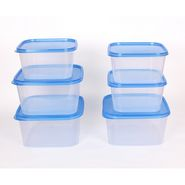 Gluman 6 Pcs Set of Plastic Kitchen Storage Container Box - Sigma Blue C4