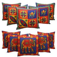 Combo of 10 Pcs Kantha Work Traditional Rajasthani  Print Cushion Covers -GRJ-5P-42-36