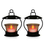 GRJ India Set of 2 Tea-light Holder With Red LED Light