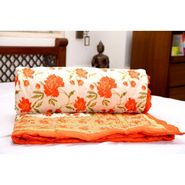 GRJ Single Cotton Designer Printed AC Quilt/ Razai in Mogul design - Orange / Olive-MultiColour