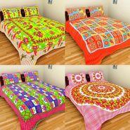 GRJ India Pure Cotton Multi Colour 4 Double BedSheet With 8 Pillow Covers-GRJ-4DB-68OL-69OG-67PK-70PK