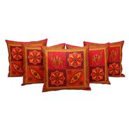 GRJ India Traditional Kantha Work  Rajasthani Print Cushion Cover Set-5 pcs-GRJ-CC-5P-21