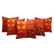 GRJ India Traditional Kantha Work  Rajasthani Print Cushion Cover Set-5 pcs-GRJ-CC-5P-22