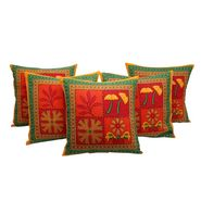 GRJ India Traditional Kantha Work  Rajasthani Print Cushion Cover Set-5 pcs-GRJ-CC-5P-23