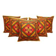 GRJ India Traditional Kantha Work  Rajasthani Print Cushion Cover Set-5 pcs-GRJ-CC-5P-25