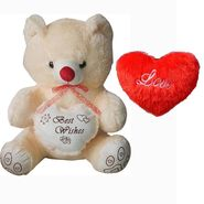 Valentine Combo of 2 Feet Teddy & Soft Toy Heart -Beige