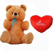 Valentine Combo of 3 Feet Teddy & Soft Toy Heart - Brown