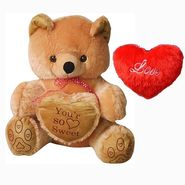 Valentine Combo of 5 Feet Teddy & Soft Toy Heart - Brown